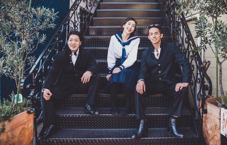 Groep Japanse tieners, levensstijlmomenten in een schooldag. Stockfoto