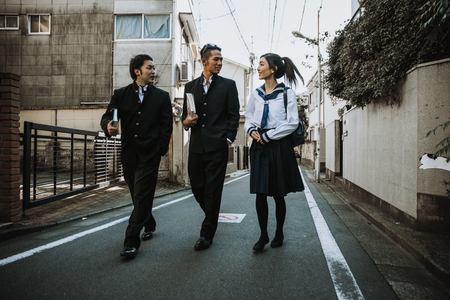 Group of japanese teenagers, lifestyle moments in a school day.