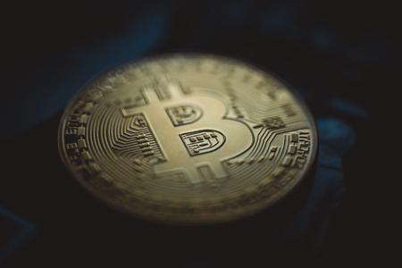 Bitcoin crypto currency coin close up Фото со стока - 93799515