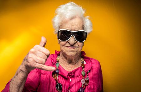 Grandmother portrait set in the studio. Concepts about seniority Banque d'images
