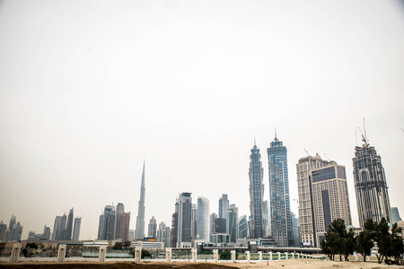 DUBAI, UNITED ARAB EMIRATES - FEBRUARY 16, 2017: Burj Khalifa tower. This skyscraper is the tallest man-made structure in the world, measuring 828 m. Completed in 2009.