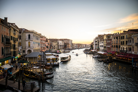 Panoramic view of Grand Canal at sunset in Venice, Italy