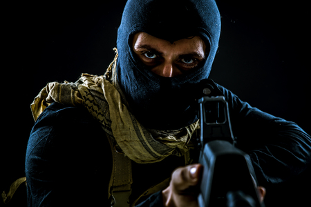 Terrorist criminal portrait Stock Photo - 94803630