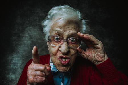 Grandmother portrait set in the studio. Concepts about seniority Banco de Imagens