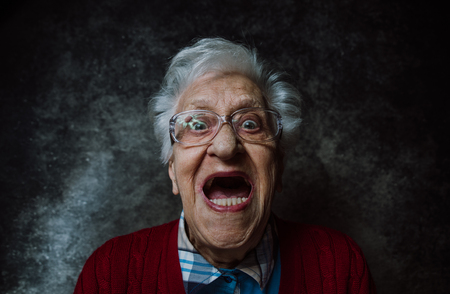 Grandmother portrait set in the studio. Concepts about seniority 写真素材