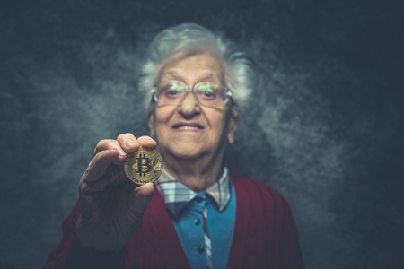 Grandmother portrait set in the studio. Concepts about seniority Stock Photo