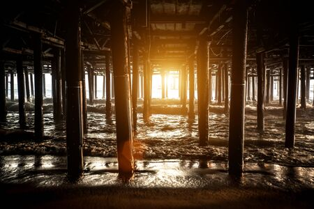 Santa monica pier structure 版權商用圖片