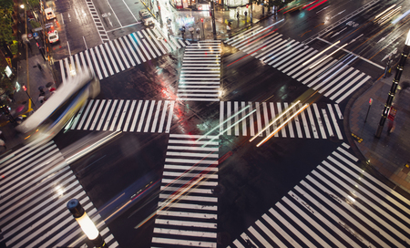 Traffic lights in Tokyo. Aerial view of the Ginza cross