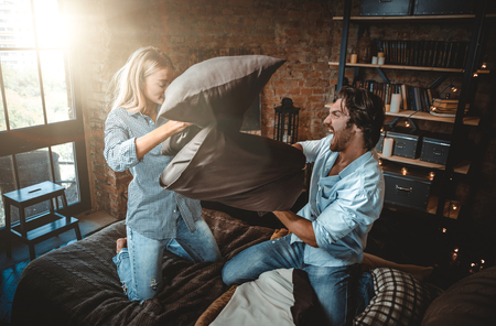 Couple moments in the bedroom. Domestic life home