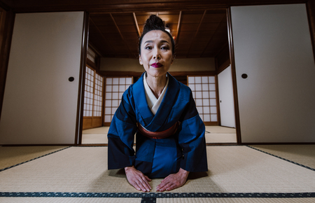 Beautiful japanese woman in a traditional japanese house