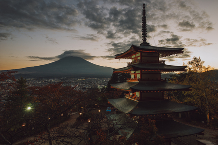 Chureito pagoda at Fuji mountain. Beautiful japanese landmarks and landscapes