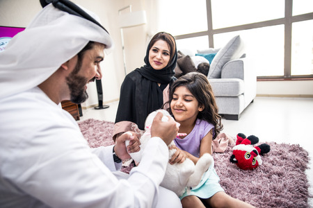 Arabic happy family lifestyle moments at home Reklamní fotografie - 97203891