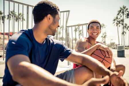 Two basketball players outdoor in LA