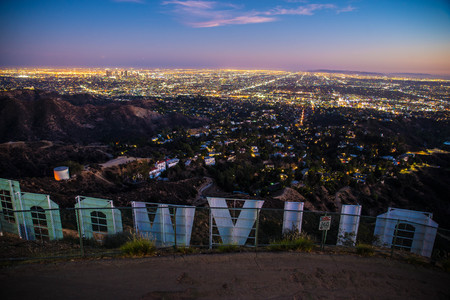 LOS ANGELES, CALIFORNIA - SEPTEMBER 25, 2016: The Hollywood sign overlooking Los Angeles. The iconic sign was originally created in 1923.