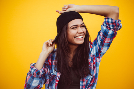 Happy teenager portrait on colored backgrounds