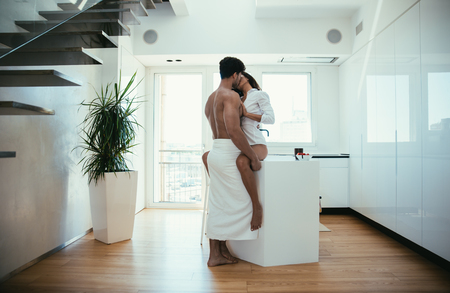 Young couple lifestyle moments at home Banco de Imagens