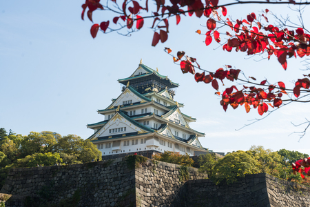 Osaka castle located in Osaka, Japan. An old castle with long history of Japanese culture.