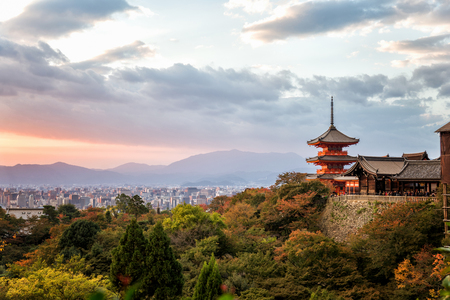 Kiyomizu-dera Temple in Kyoto Japan and Kyoto cityscape Stock Photo