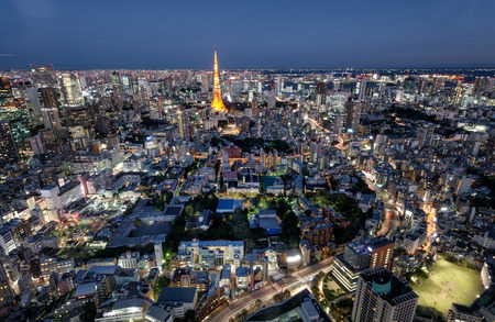 Tokyo Tower illuminated and Tokyo cityscape