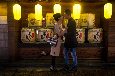 Beautiful happy couple dating in Tokyo 에디토리얼