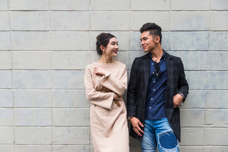 Beautiful happy couple dating in Tokyo 스톡 콘텐츠