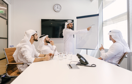 Arabian men meeting and talking about business - Businessmen portrait in Dubai