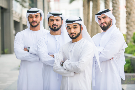 Arabian men meeting and talking about business - Businessmen portrait in Dubai Stock Photo - 102312968