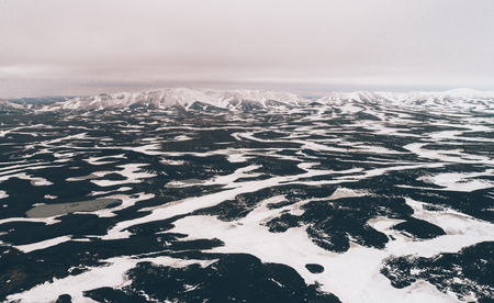 Icelandic panoramas, aerial view on the lands