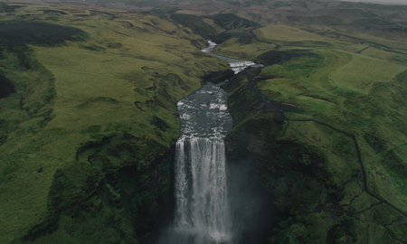 Skogafoss waterfall from aerial view