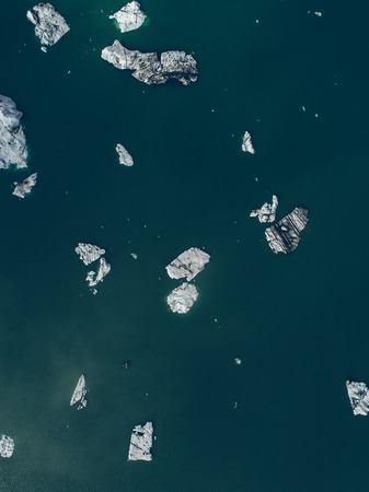 Icelandic panoramas, aerial view on the glacier lagoon Stock Photo
