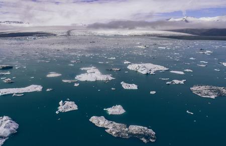 Icelandic panoramas, aerial view on the glacier lagoon Stock fotó