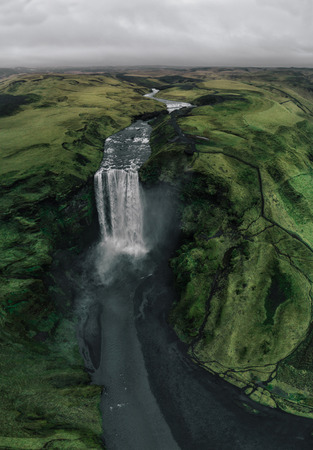 Skogafoss waterfall from aerial view Stock Photo - 105532735