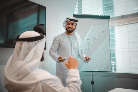 Équipe commerciale arabe au bureau