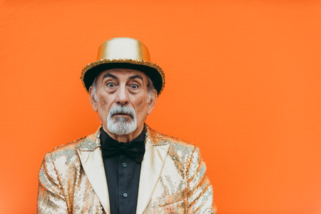 Grandfather portraits on colored backgrounds 版權商用圖片