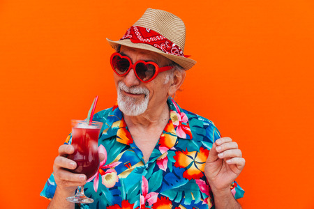 Grandfather portraits on colored backgrounds Stock Photo