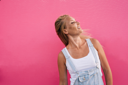 Beautiful girl lifestyle moments on colored backgrounds
