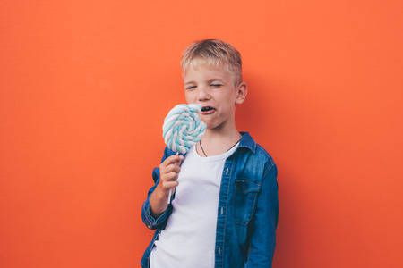 Happy kid lifestyle moments on colore backgrounds