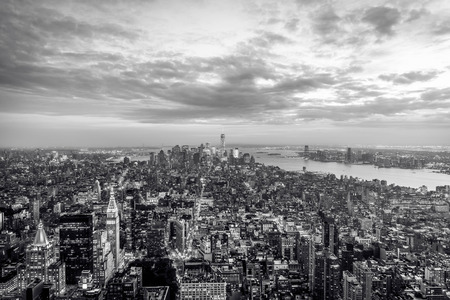New York City sunset skyline aerial view with office buildings,skyscrapers and Hudson River. Stock Photo