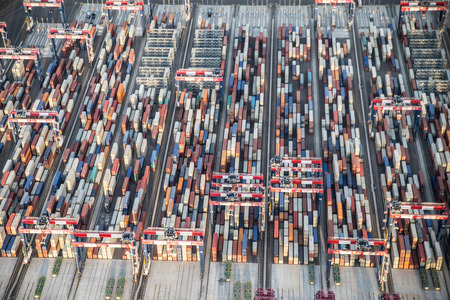 view of cargo shipping containers stacked on docks. 写真素材