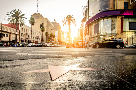 Walk of Fame at sunset on Hollywood Boulevard 스톡 콘텐츠