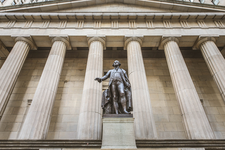 NEW YORK CITY -SEPTEMBER 17 2016. Federal Hall National Memorial on Wall Street in Manhattan New York City. The Exchange building was built in 1903.