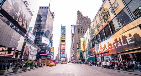NEW YORK CITY, NY - NOVEMBER 25, 2015: Times Square is featured with Broadway Theaters and LED signs as a symbol of New York City and the United States, September 5, 2009 in Manhattan, New York City. Editöryel