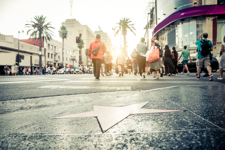 Walk of Fame at sunset on Hollywood Boulevard Stock Photo