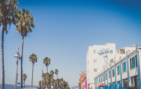 VENICE BEACH, USA - SEPTEMBER 29, 2016: The crowded Venice Beach Boardwalk. Lots of people are strolling down the boardwalk. On the sides there are several shops and palm trees. Stock Photo - 105773242