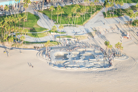 Los Angeles, California, USA - September 28, 2016: Afternoon aerial view of Venice Beach skate park in Southern California. Editorial