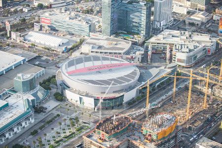 Los Angeles, California, USA - September 26, 2016: Aerial view of Staples Center, LA Live and nearby construction