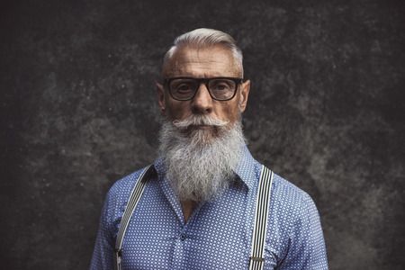 Senior hipster with stylish beard portraits Stockfoto