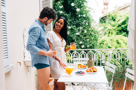 Couple in love eating breakfast in the morning