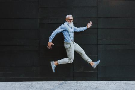 Senior hipster with stylish beard portraits 스톡 콘텐츠