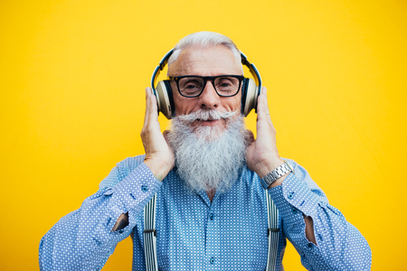 Senior hipster with stylish beard portraits Banco de Imagens